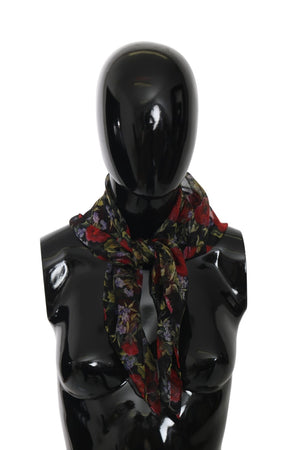 Black Floral Square Wrap Shawl Silk Scarf