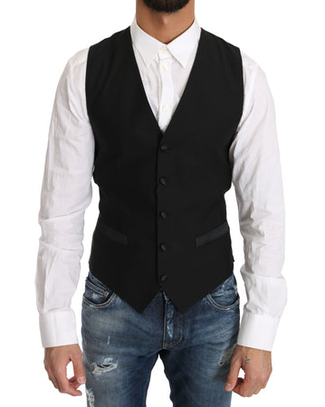 Black Wool Dress Waistcoat Gillet
