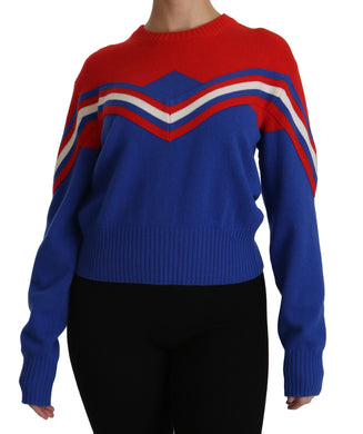 Blue Red Crew Neck Pullover Wool Sweater