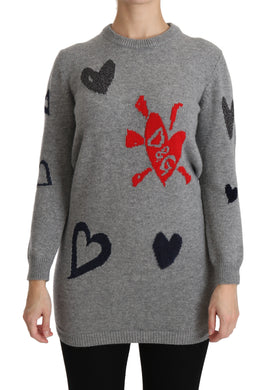 Gray Hearts Crew Neck Pullover Wool Sweater
