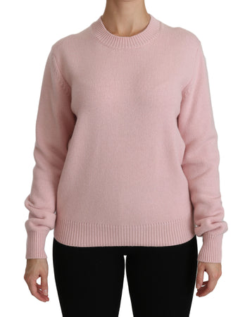 Pink Crew Neck Cashmere Pullover Sweater