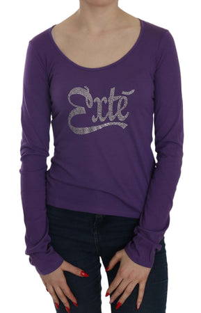 Purple Crystal Embellished Long Sleeve Casual Top