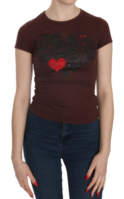 Brown Hearts Short Sleeve Casual T-shirt Top
