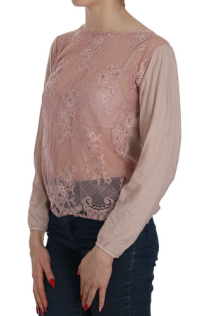 Pink Lace See Through Long Sleeve Blouse