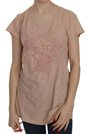 Pink Cream Lace Short Sleeve Shirt Top Cotton Blouse