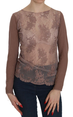 Brown Lace See Through Long Sleeve Top Blouse