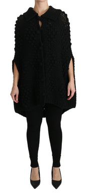 Black Knitted Pullover Viscose  Sweater