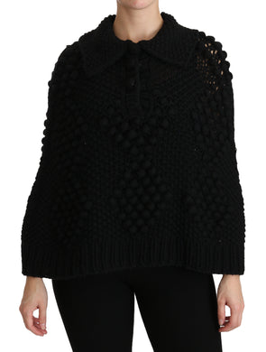 Black Knitted Pullover Top Viscose Sweater