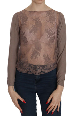 Brown Lace See Through Long Sleeve Top