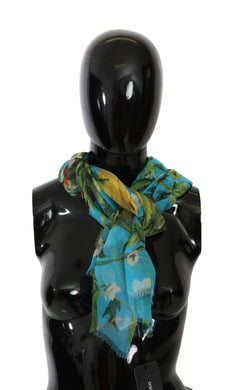 Light Blue Floral Wrap Shawl Silk Scarf