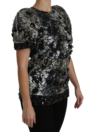 Black Sequined Crystal Embellished Top Blouse