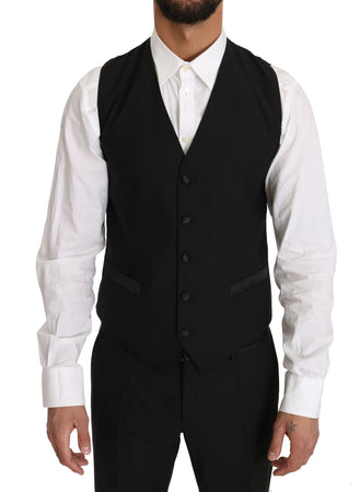 Black Wool Dress Waistcoat Gillet Vest