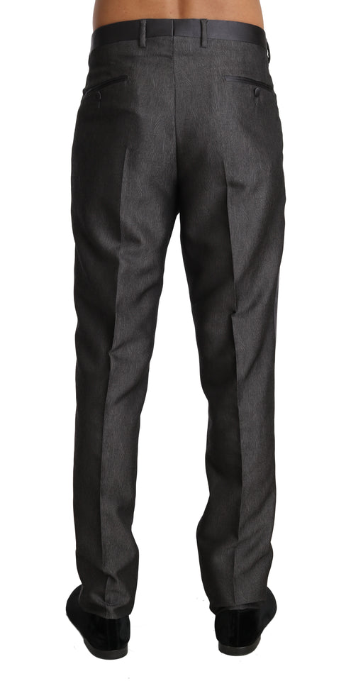 Gray Wool Silk Patterned Formal Trousers