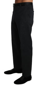 Black Cotton Brocade Formal Trousers Pants