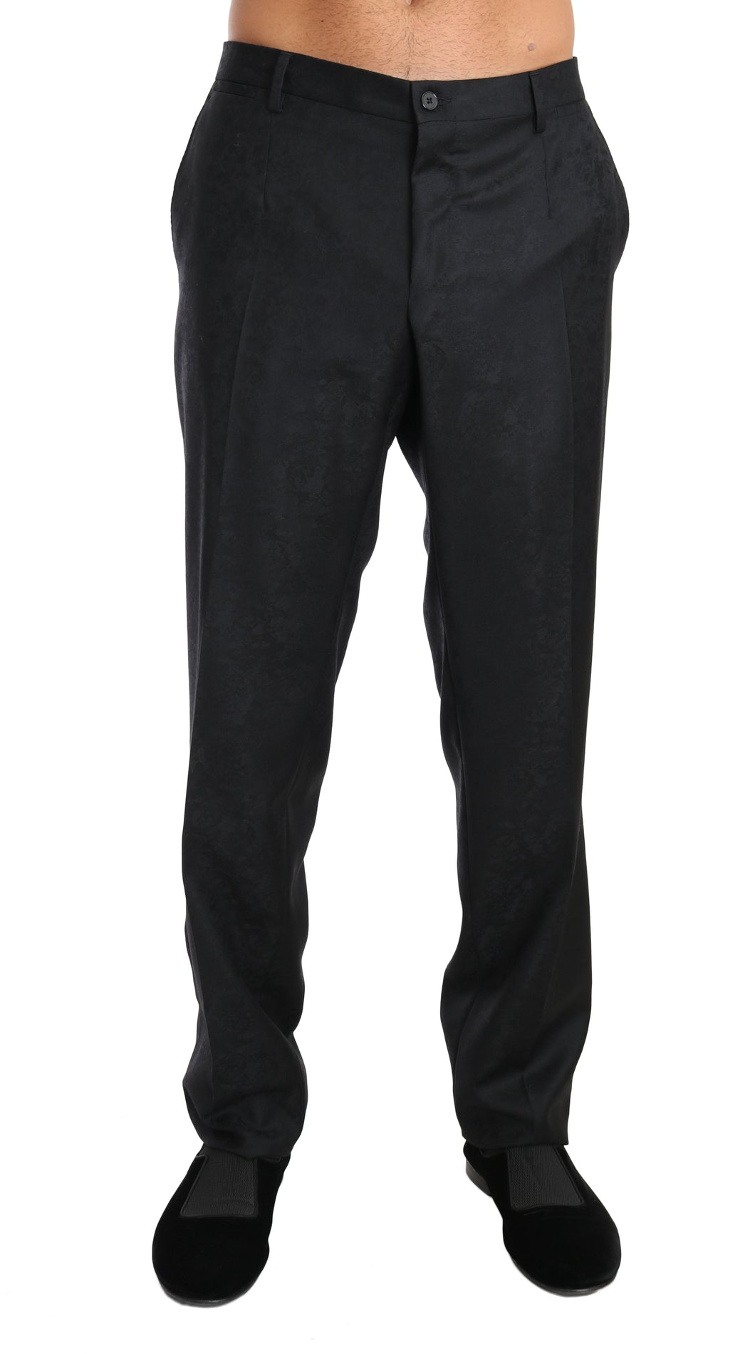 Gray Cotton Patterned Formal Trousers