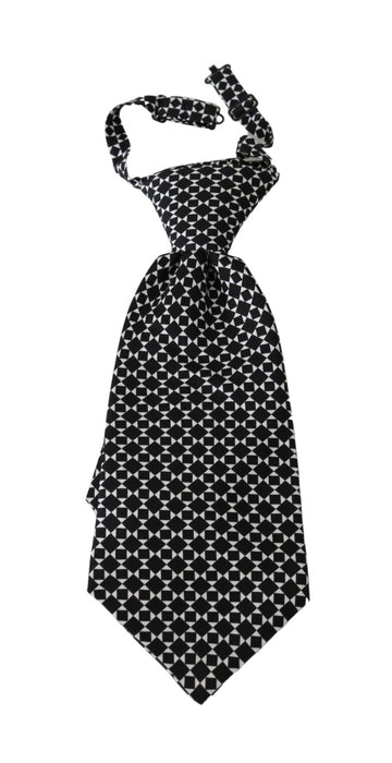 Black Patterned Mens Necktie Accessory 100% Silk Tie