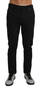 Black Cotton Logo Dress Formal Trousers