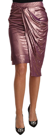 Weave Pencil Rose Gold Wrap Fitted Midi Skirt