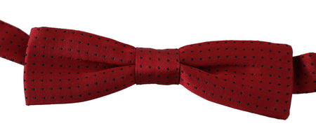 Red Dotted Silk Adjustable Neck Papillon Bow Tie