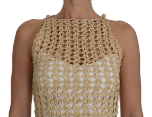 Beige Knitted Ricamo Sheer Viscose Dress