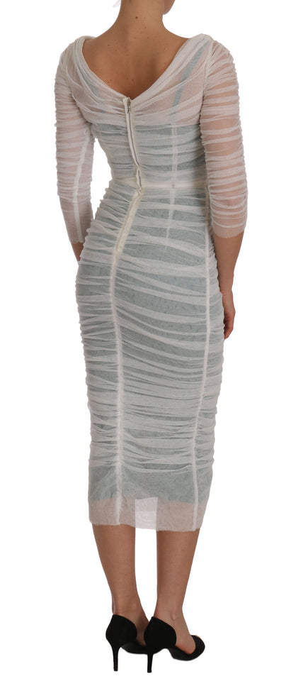 White Stretch Bodycon Crystal Leaf Dress