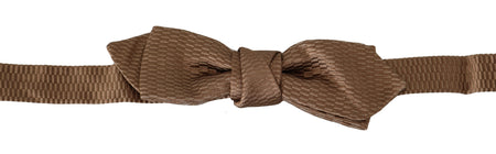 Men Brown Gold Adjustable Neck Papillon Bow Tie