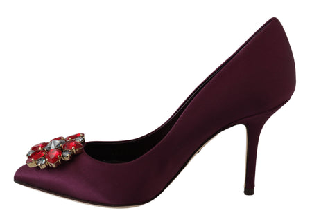 Purple Silk Crystal Pumps Heels Shoes