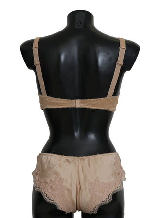 Beige Silk Floral Stretch Underwear