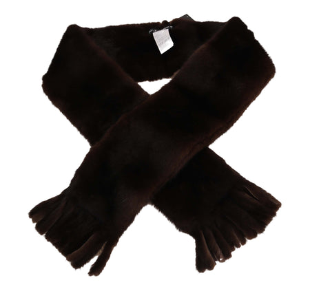 Brown and Black Wrap Collar 12x140cm Shawl Scarf