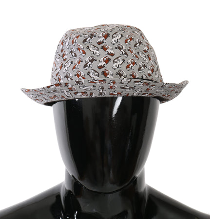Gray Car Print Feodra Cap Men Capello Hat