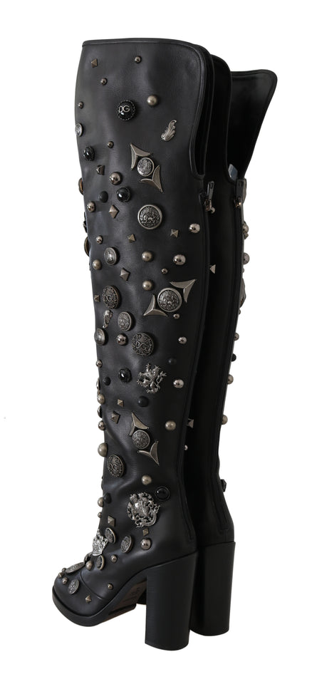 Black Leather DG Logo Studded Boots