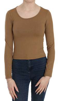 Brown Long Round Neck Sleeve Fitted Shirt Tops Blouse