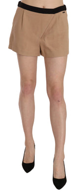 Short Beige Cotton Blend Mid Waist Mini Skirt