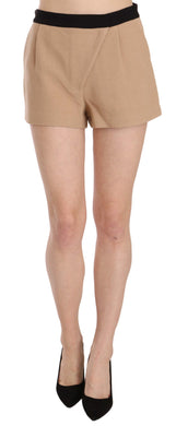 Shorts Beige Cotton Mid Waist Mini Short