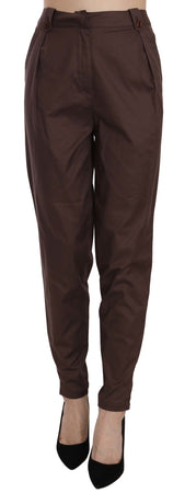 Brown High Waist Tapered Formal Trousers Pants