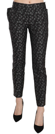 Black Patterned Low Waist Skinny Trousers Pants