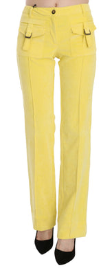 Yellow Corduroy Mid Waist Straight Trousers Pants