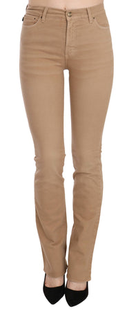 Brown Cotton Stretch Mid Waist Skinny Trousers Pants