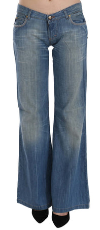 Blue Washed Low Waist Flared Denim Pants Jeans