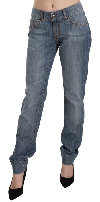 Blue Washed Cotton Low Waist Slim Fit Denim Pants