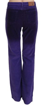 Purple Corduroy Mid Waist Straight Denim Pants