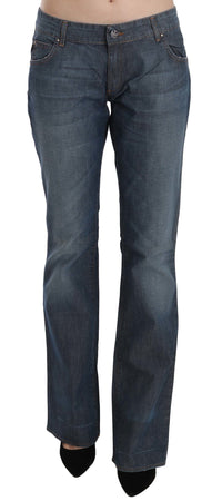 Blue Washed Low Waist Cotton Straight Denim Pants