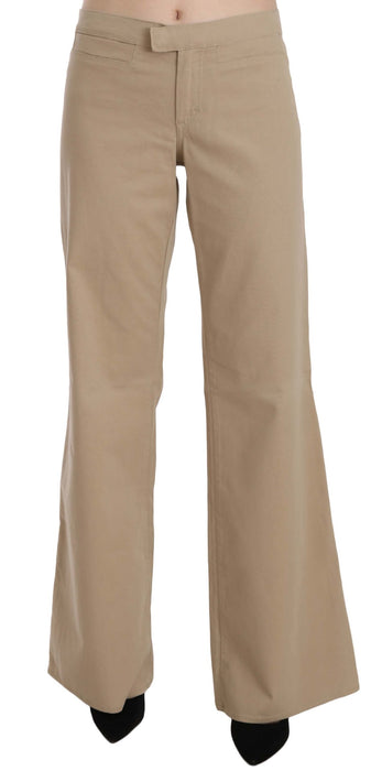 Beige Cotton Mid Waist Flared Trousers Pants