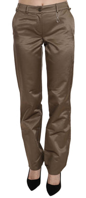 Brown Cotton Mid Waist Straight Pants
