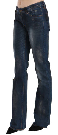 Blue Washed Ripped Low Waist Straight Denim Pants