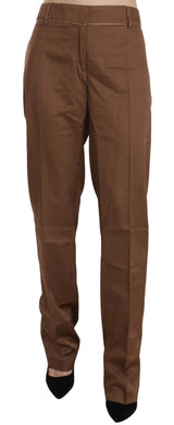 Brown High Waist Straight Pants
