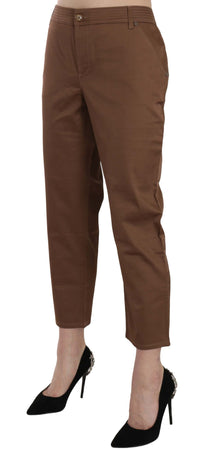 Viscose Brown High Waist Crop Pants