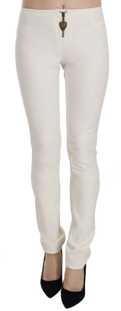 White Mid Waist Skinny Dress Trousers Pants