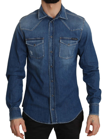 Blue Washed Cotton Denim Slim Fit Casual Shirt