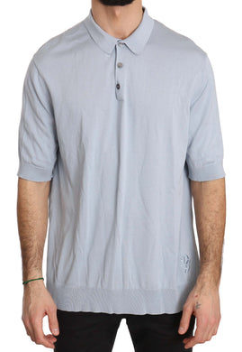 Light Blue DG Logo Silk Polo T-shirt